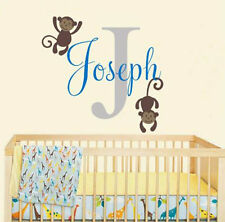 Personalized Wall Decal Name Sticker with Playing Monkeys for Nursery Room Decor