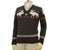 Polo Ralph Lauren Linen -Cotton Reindeer Knit Sweater in Size XXL in Brown