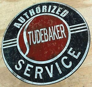 """Studebaker Authorized Service Distressed Looking Aluminum Metal Sign 12"""""""