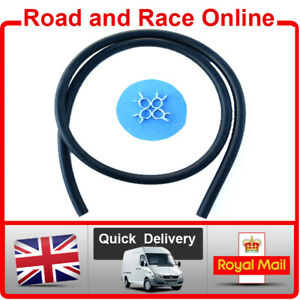 Motorcycle Fuel Line Petrol Pipe 6mm I/D - 10mm O/D 1m Long Black With 4 Clips