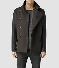 "Allsaints Mens Brown ""Major"" Pea Coat Wool Leather Size Small BNWT RRP £378"