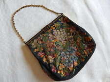 Vintage French Petit Point Embroidery Handbag Purse
