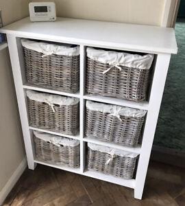 White Wicker Basket Storage Unit