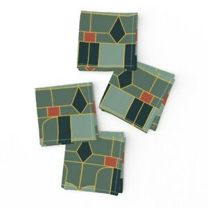 Cocktail Napkins Floral Art Deco Geometric Rust Red Green Gold Mid Set of 4