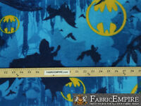 Polar Fleece Fabric Print DC COMICS BATMAN CAVE BLUE  LICENSED Sold By The Yard