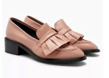New🌹NEXT Signature🌹Size 8 (42 EU)  Womens Dark Nude Ruffle Leather Loafers