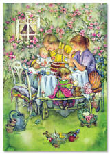 Lisi MARTIN~ FAMILY drinking tea with cake in Garden ART KIDS postcard