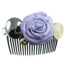 Peigne à cheveux  mariage cérémonie strass rond argenté rose en satin violet