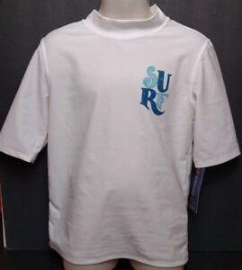 White SURF Rash Skin Guard Swim Shirt short sleeve UPF 50+ Cherokee Small