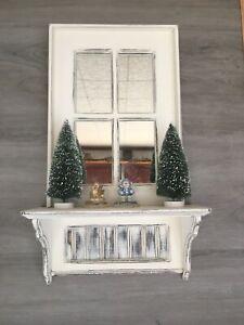 Farmhouse wooden window frame destressed white wall shelf 19 x 32 mirrored