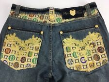 Crown Holder Jeans Red Velvet Gold Embroidery Stitching Studs Sz 38 AUTHENTIC