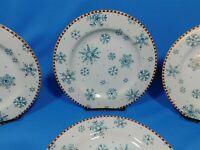 "4 Sakura Debbie Mumm Snowflake Luncheon Plates Christmas Winter Dinnerware 8.25"""