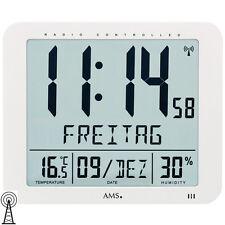 AMS 5886 Wanduhr Tischuhr Funk Funkwanduhr digital wei�Ÿ Datum Thermometer Wecker