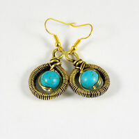 Turquoise Crystal Beads Antiqued Brass Wire Wrapped Earrings Natural Gemstone