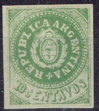 Argentina.  1862.  10 cents green.  Probably reprint.  MH with full gum.