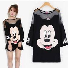 Cotton Mesh Fabric Korean Style T Shirt Dress For Women Cartoons Graphic Designs