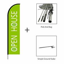 Open House Real Estate Sign Light Green Feather Flag Swooper Banner Pole Kit 15'