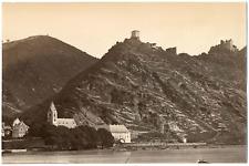 Allemagne, Liebenstein, vue sur le château et le Rhin  Vintage albumen print