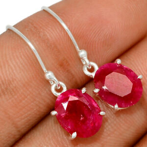 Ruby, India 925 Sterling Silver Earrings Jewelry BE52712