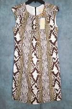 New MICHAEL KORS brown pethon skin print cap sleeve dress-sz 2-polyester-$225