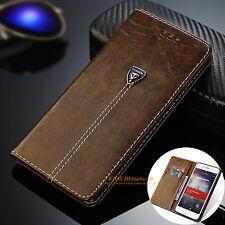 Luxus Echt Leder Handy Flip Case Cover Tasche Schutz Hülle Etui Silikon Bumper
