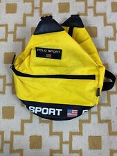VTG 90's Polo Sport Ralph Backpack Bag Tote Yellow USA Flag Rare Spell Out