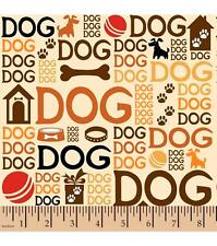 1/2 yard FLANNEL Earthtone Dog Words Brown Orange Russet on Beige BTHY