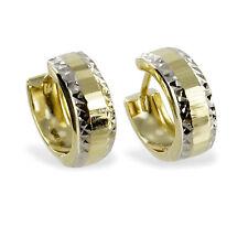 333 Gold Klappcreolen Kreolen Ohrringe bicolor Gelbgold weiß runde breite Damen