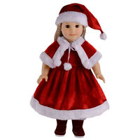 Christmas Dress Hat Shawl Clothes Set for 18 Inch American Kids Doll Toy