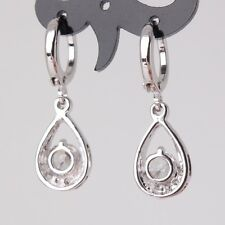 HUCHE Hollow Drop Diamond Clear Sapphire Crystal White Gold Filled Women Earring