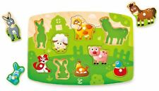 Hape Farmyard Peg Puzzle Pre-School Young Children Wooden Toy Game Bn