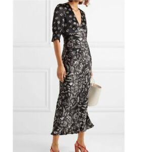 New Rixo Laura Jackson Zadie Printed Silk Maxi Dress Size M UK 12