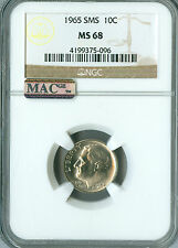1965 ROOSEVELT DIME NGC MAC MS68 SMS 2ND FINEST GRADE SPOTLESS   .