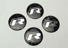4PCS BLACK R-LINE ALUMINUM ALLOY AUTO WHEEL CENTER CAPS STICKER EMBLEM HUBS CAPS