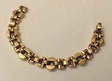 Hm Hallmarked Chester 1955 9ct 9k Yellow Gold Geometric Panel Bracelet 26.0g
