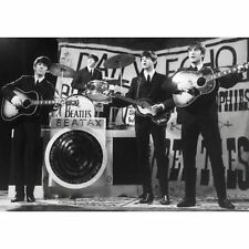 The Beatles On stage Black And White Retro Postcard Photograph 100% Official