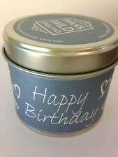 Candle HAPPY BIRTHDAY CANDLE SCENTED IN A TIN VEGAN WAX UK MADE musk green leaf