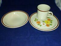 """Vintage 1970's Interpur Japan Stoneware """"Flower Garden"""" Pattern 3 pc lot"""