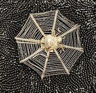 Victorian Sterling Silver Spider Spiderweb Place Card Holder Vintage Halloween