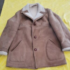 SAK'S Sawyer of Napa Men's 40 Beige Sheepskin Shearling Leather Jacket Coat USA