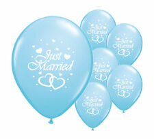 """10 JUST MARRIED LIGHT BLUE 12"""" HELIUM QUALITY PEARLISED WEDDING BALLOONS (PA)"""