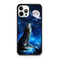 Howling Cool Space Wolf Animal Full Moon Starry Blue Galaxy Phone Case Cover