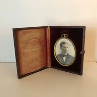 Antique Victorian Burgany Velvet Leather Folding Picture Frame of Young Man