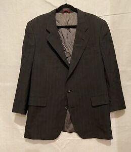 SZ 46 Jos A Bank Mens Wool Stripe Blazer Suit Jacket Sport Coat Black