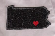 Embroidered Black Glitter Sparkle Pennsylvania PA Love State Patch Iron On Sew