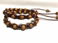 Shamballa Pine Wood 6 mm Bracelet Men's & Woman's 7.5 to 8 Inches.