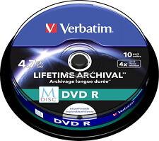 10 Verbatim Rohlinge M-Disc DVD full printable 4,7GB 4x Spindel