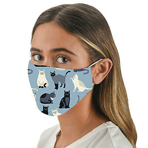 Face Mask Cat Lover Gift - Quality Blue Cat print with Filter pocket