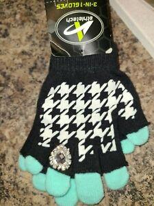 Girls Gloves Ring Diamonds Winter Black Snow
