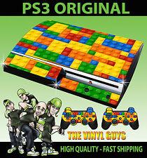 Playstation Ps3 Etiqueta Original Juguete Pared De Ladrillos Bloques Skin & 2 Pad Skins